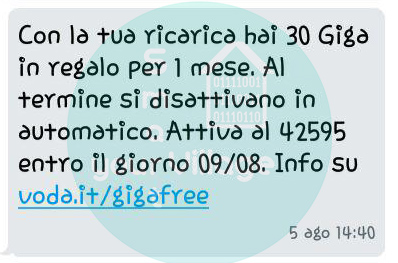 sms 30gb in regalo